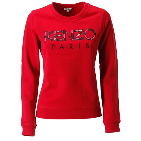 red logoed sweatshirt