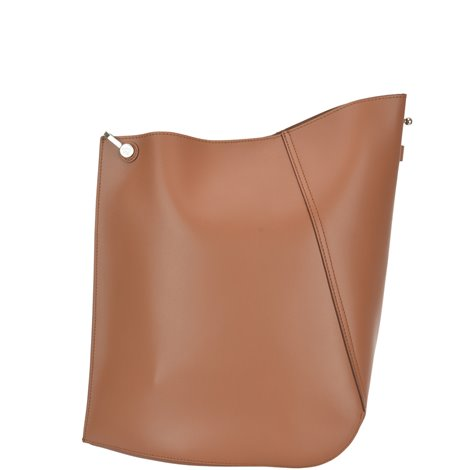 brown leather medium hook shoulder bag