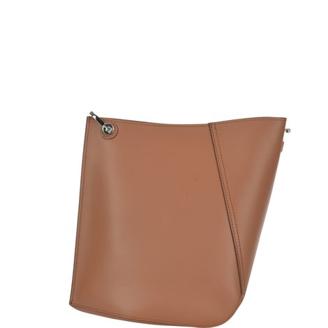 brown leather small hook shoulder bag