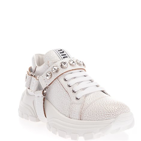 white leather sneakers with crystals