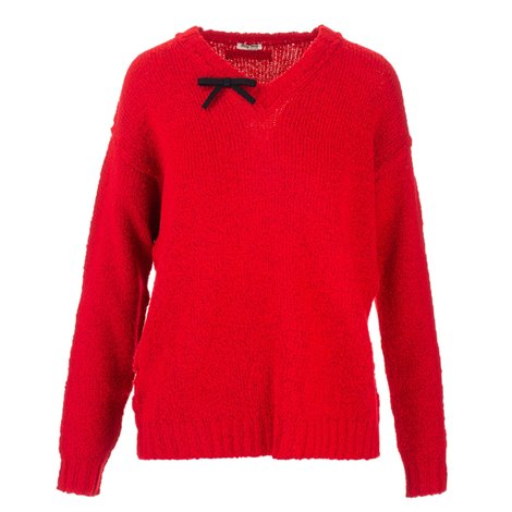 red bowed sweater