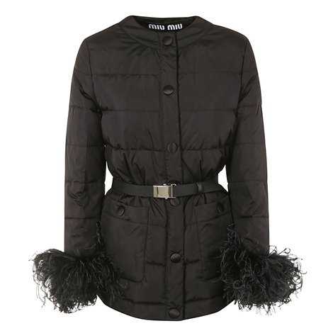 black down jacket with feather detail