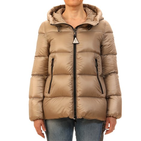 beige quilted down jacket