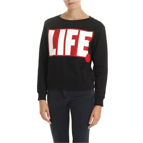 black<br/>red and white life print<br/>front moncler logo patch<br/>ribbed neckline