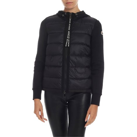 black<br/>down padding<br/>drawstring hood<br/>moncler logo detail on the sleeve<br/>side pockets with zip<br/>drawstring on the bottom<br/>two-way zip fastening