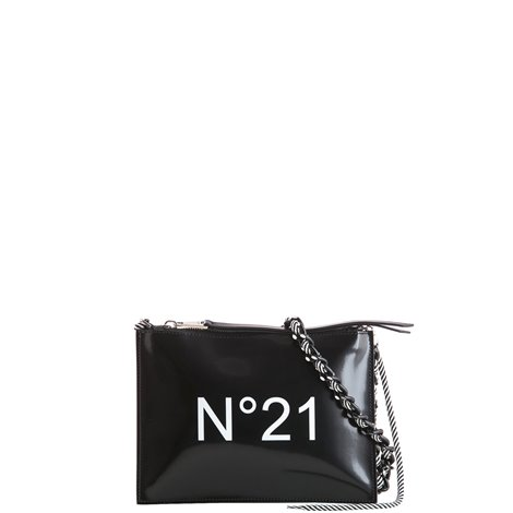 black patent logoed clutch