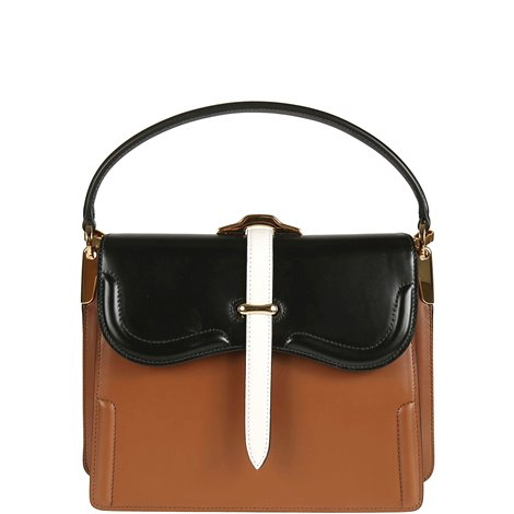 brown and black leather hand bag
