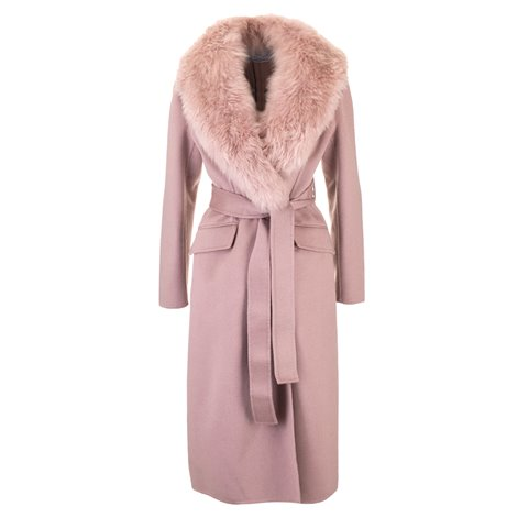 pink coat with fur collar