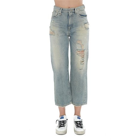jeans skinny in denim effetto distressed