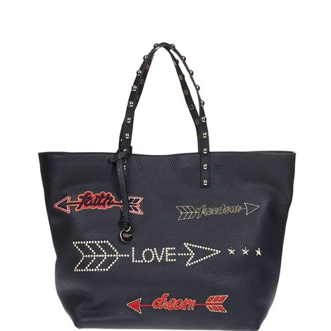 black embroidered shopping bag