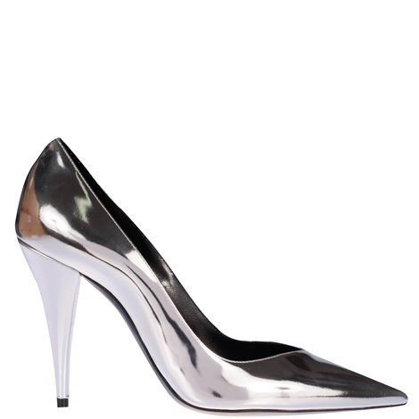 silver patent leather pumps
