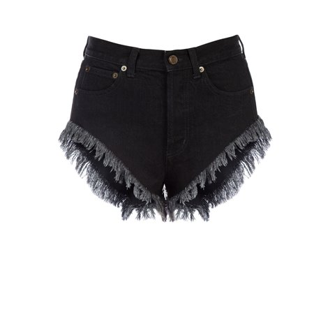 black fringed shorts