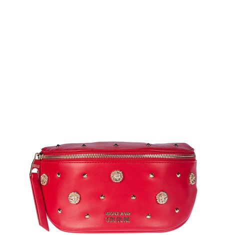 red faux leather embellished belt bag