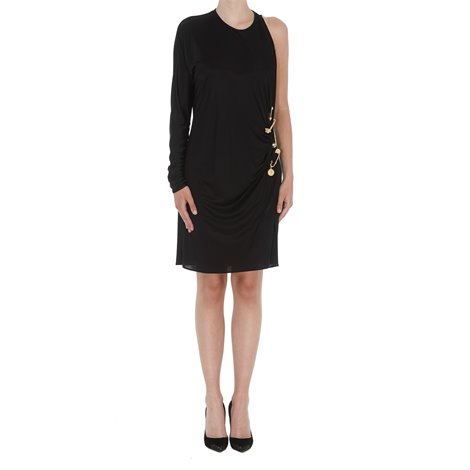 black dress with medusa safety pin detail