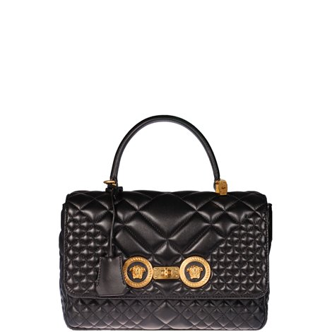 black quilted leather hand bag
