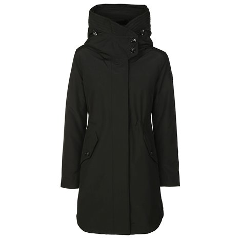black w's long military parka