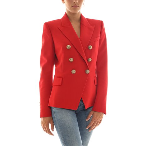 red double-breasted jacket