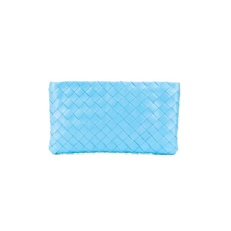 light blue woven leather clutch