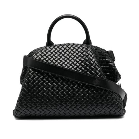 black woven leather hand bag
