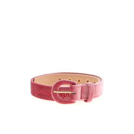 pink<br/>buckle fastening<br/>red embroidered logo