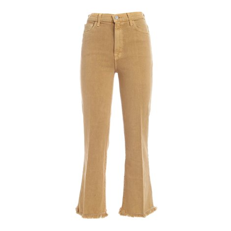 ocher<br/>5 pockets<br/>belt loops<br/>fringes bottom<br/>zip and button fastening