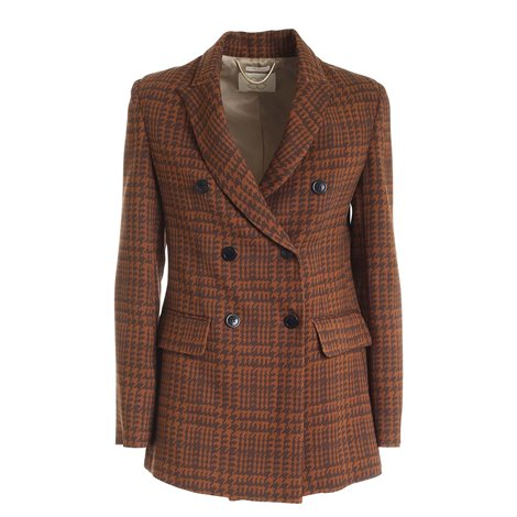 brown<br/>houndstooth pattern<br/>peack lapels<br/>shoulder pads<br/>flap front pockets<br/>double vent<br/>lined<br/>double-breasted fastening featuring buttons