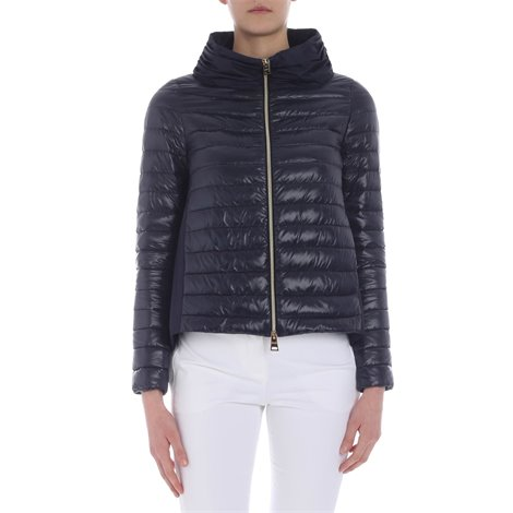 dark blue quilted padded jacket