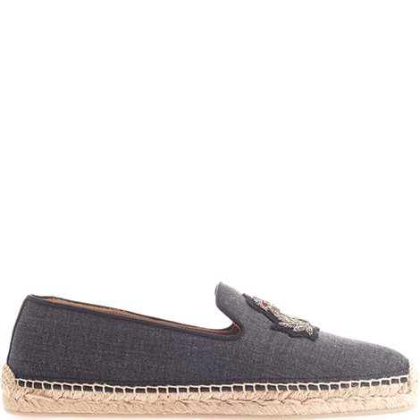grey fabric patched espadrilles