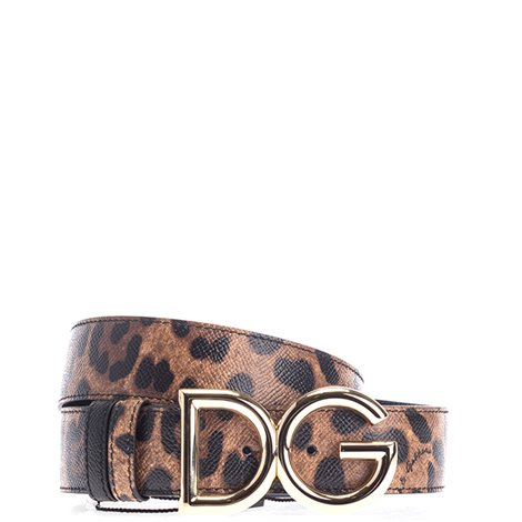 spotted leather logoed belt