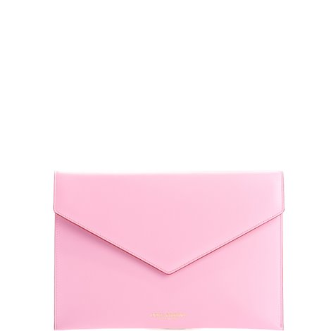 pink leather logoed clutch bag