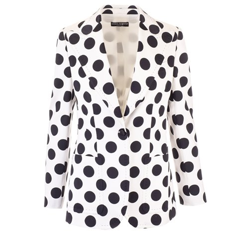 white silk blazer with black polka dots