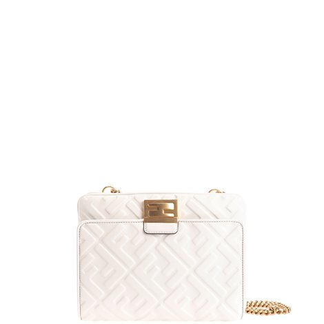 white ff embossed leather upside down bag