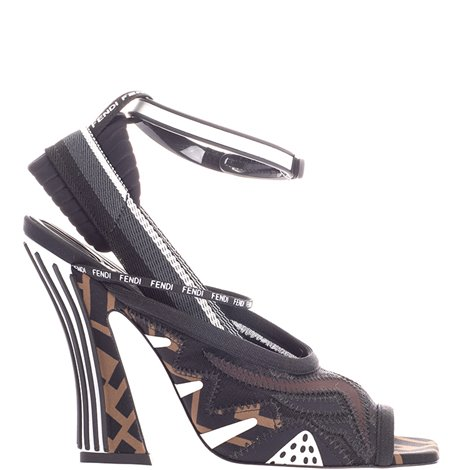 brown logoed sandals
