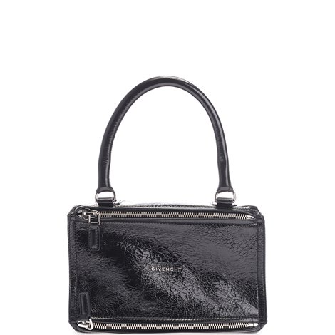 black leather small pandora tote bag