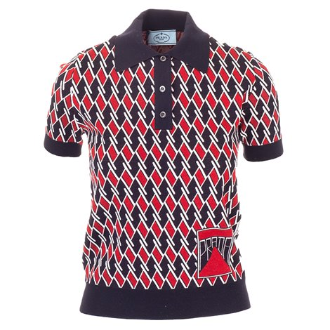 blue and red printed polo