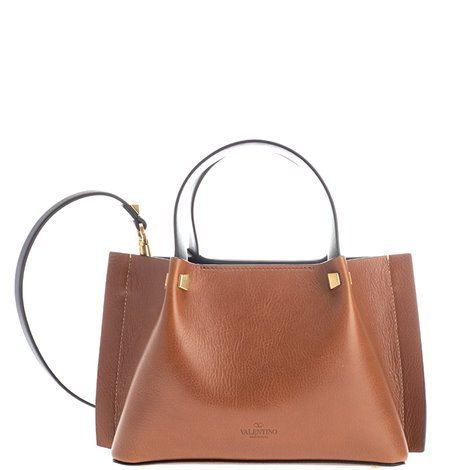 brown leather small tote bag