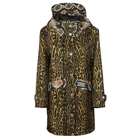 animal print nylon twill parka