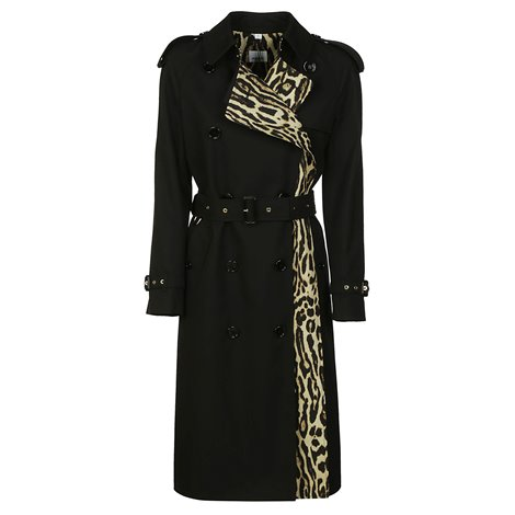 leopard print-lined cotton gabardine trench coat