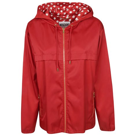 red hooded jacket with zip