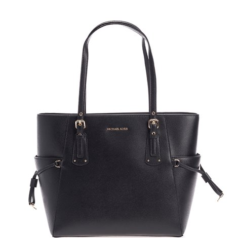 black leather small voyager tote bag