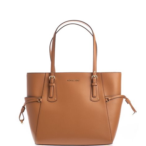 tan brown leather small voyager tote bag