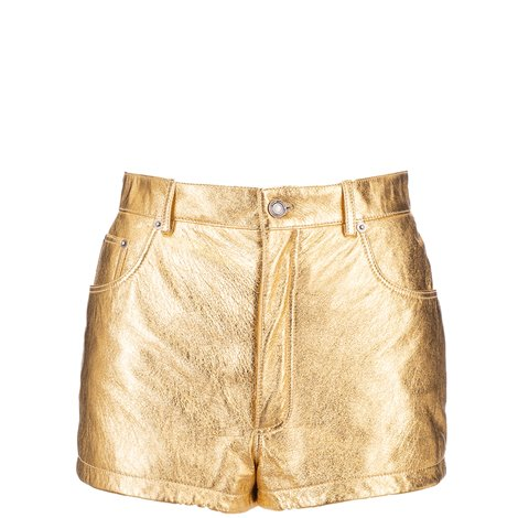 golden laminated leather shorts