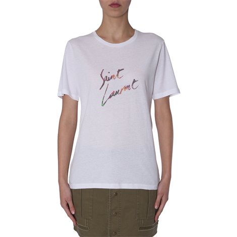 white logoed t-shirt