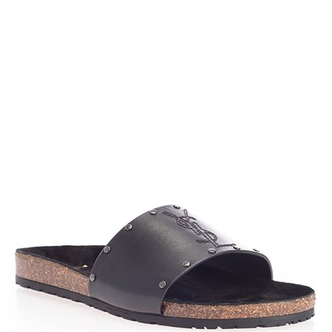 black leather jimmy ysl sandals