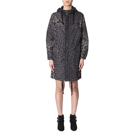 black animalier print parka coat