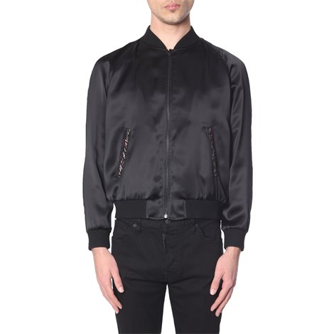 black logoed jacket with zip