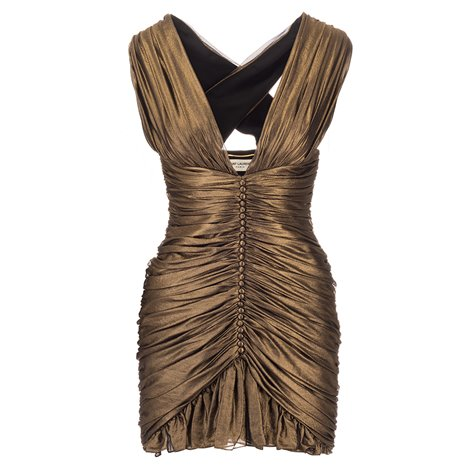 bronze silk mini dress
