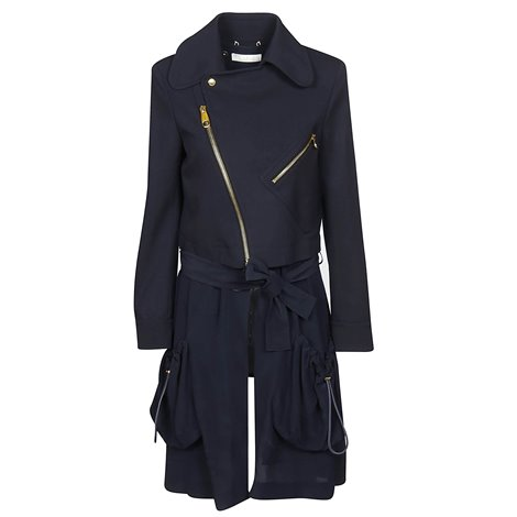 blue virgin wool belted light overcoat