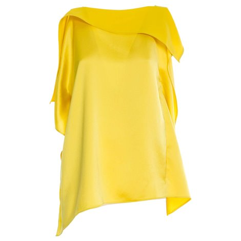 yellow satin blouse