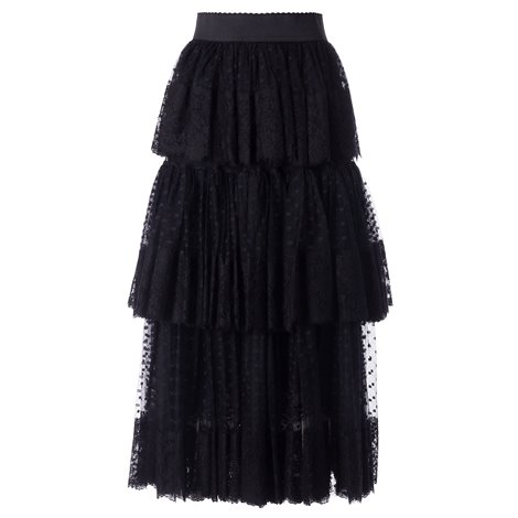 black pleated skirt with tulle inserts